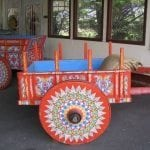 The traditional, vibrant Costa Rican Oxcart that in some locations is still used to this day to transport coffee cherry to the mill. Photo by Barth Anderson.